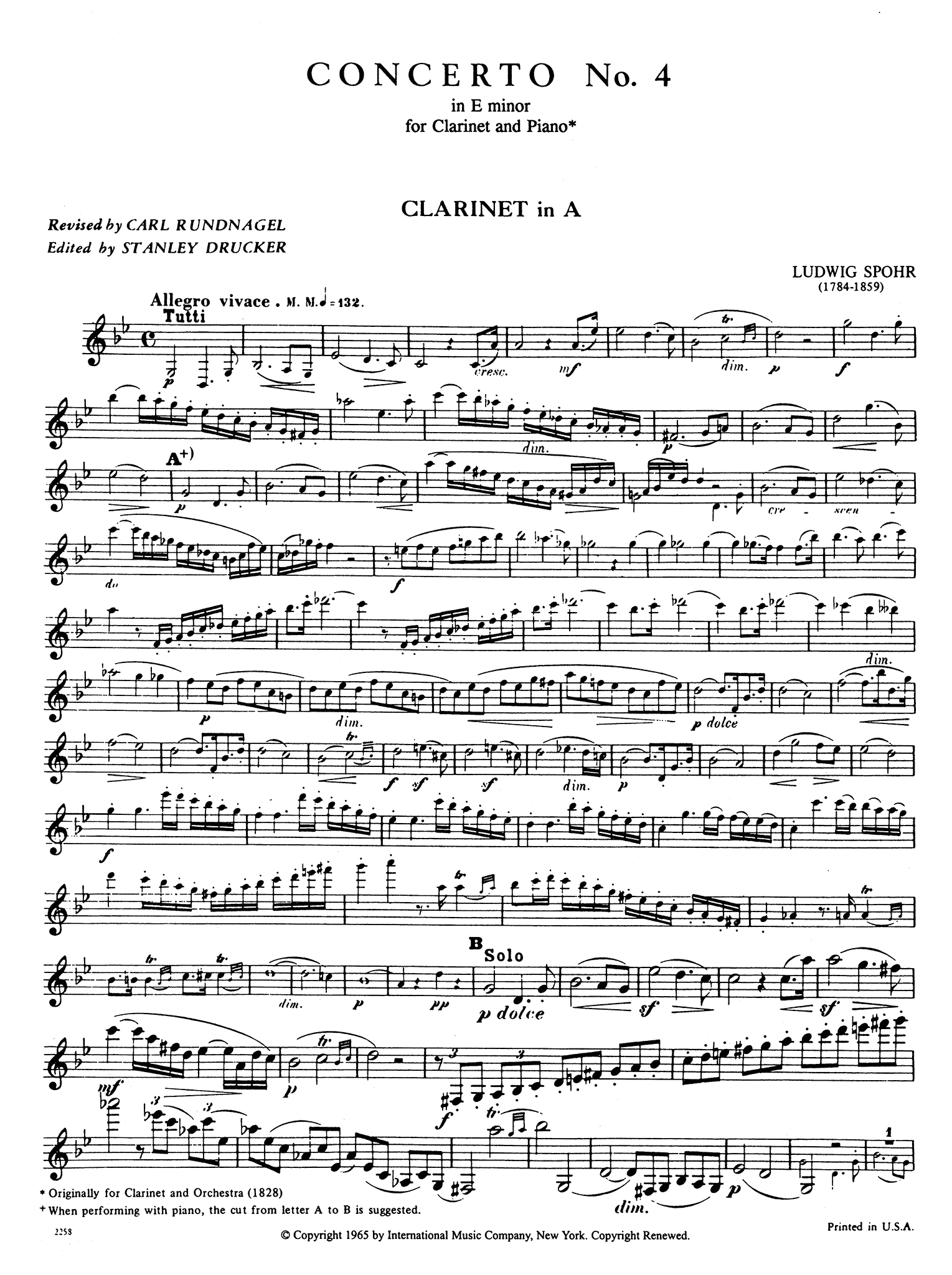 Clarinet Concerto No. 4 in E Minor, WoO 20 Clarinet part