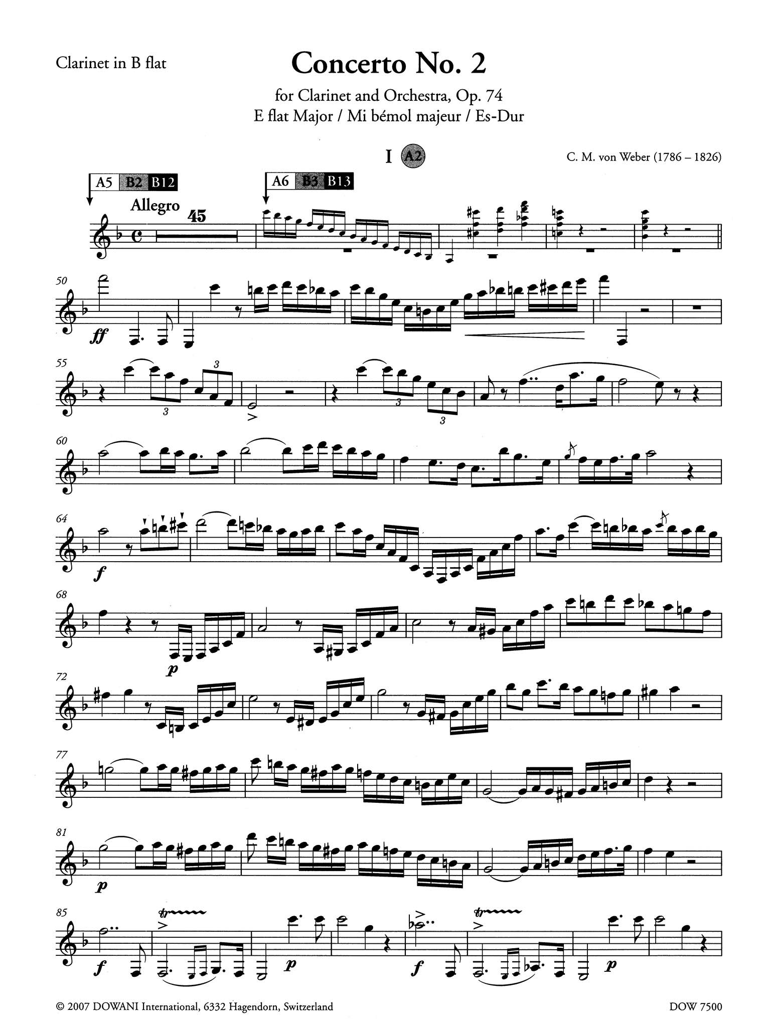 Clarinet Concerto No. 2 in E-flat Major, Op. 74 Clarinet part