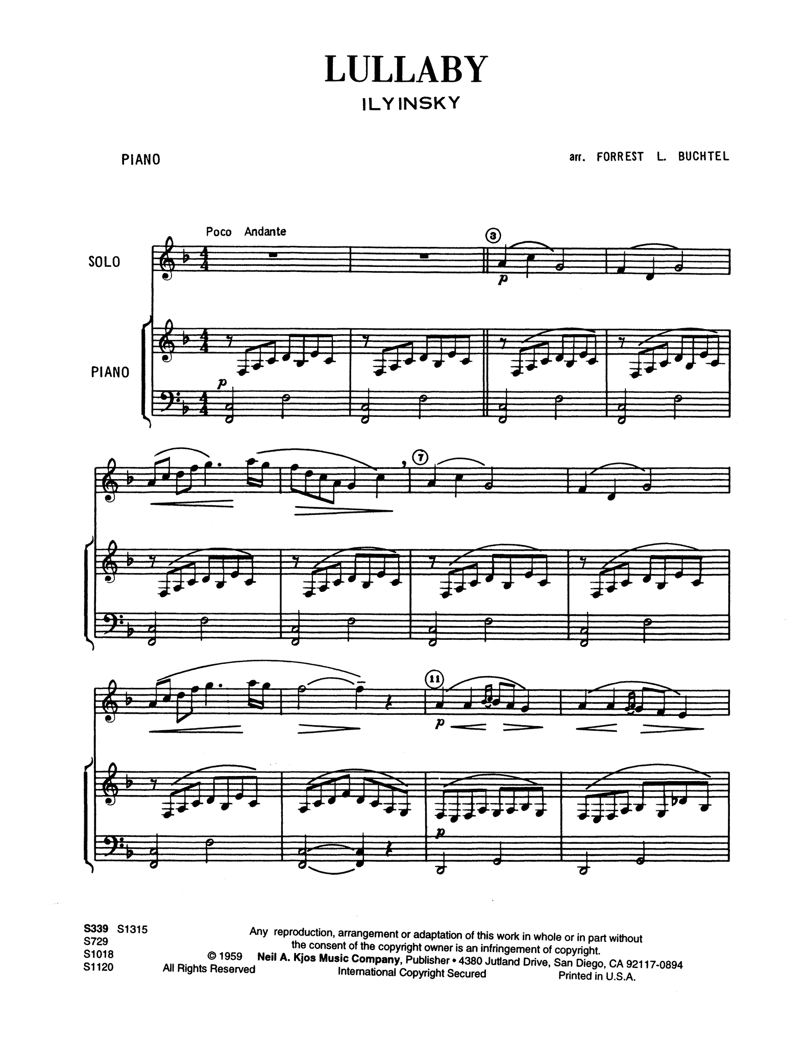 Lullaby (Berceuse) Score