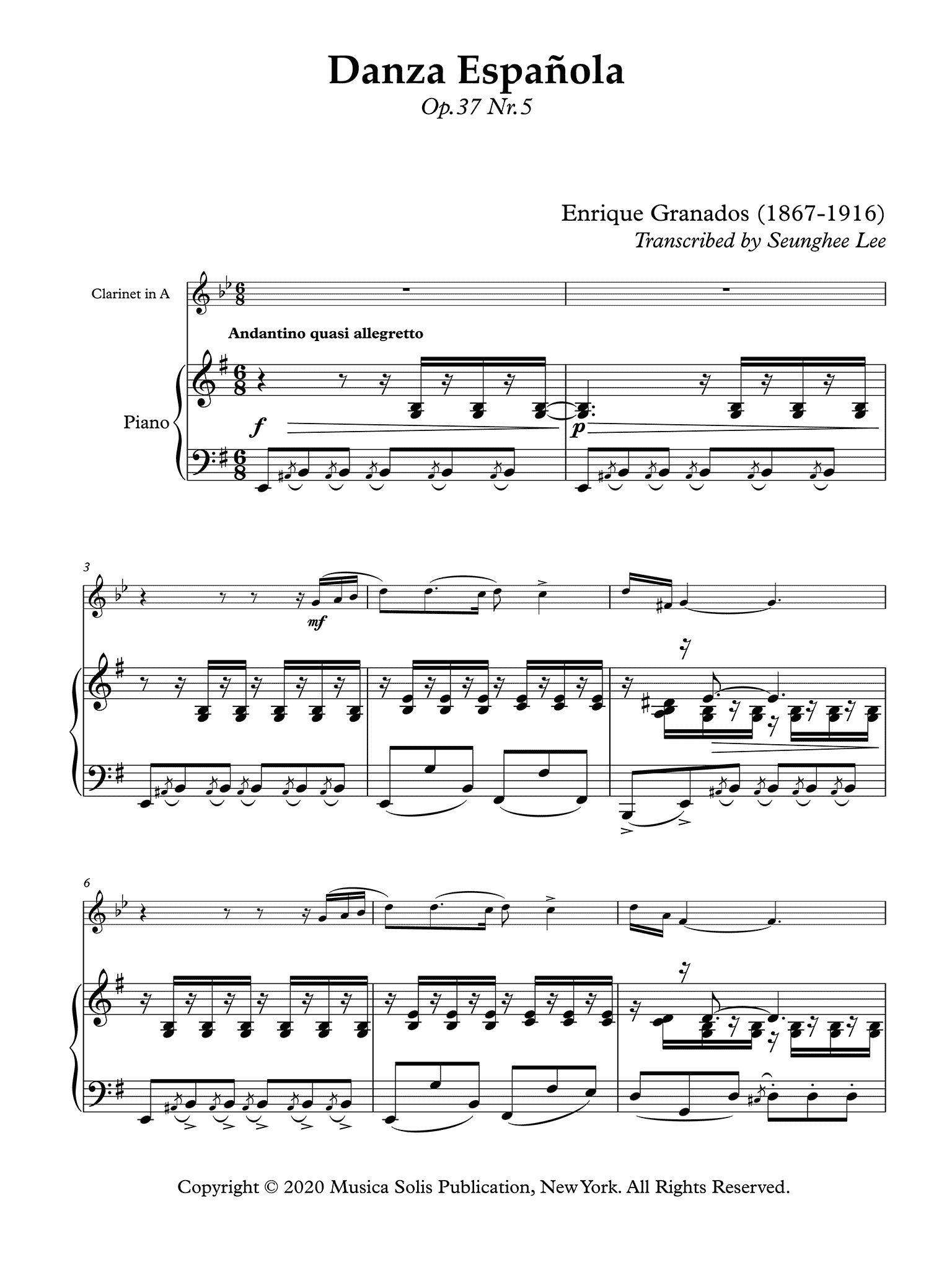 Granados Danza Espanola No. 5 clarinet & piano arrangement