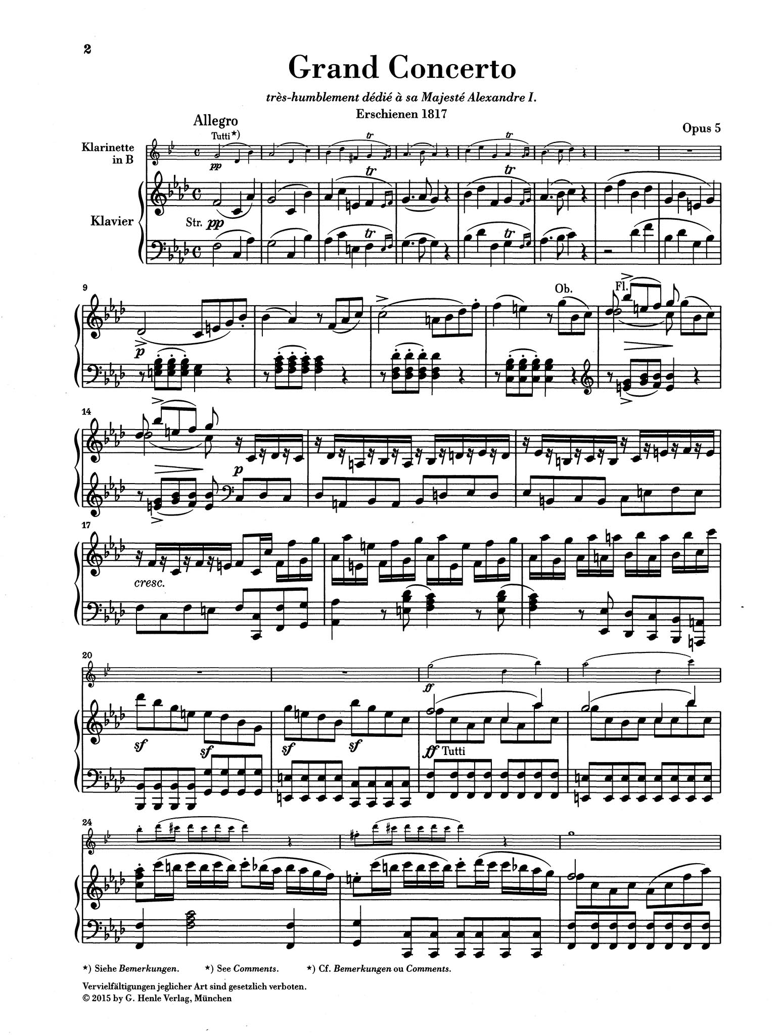 Clarinet Concerto No. 2 in F Minor 'Grand Concerto', Op. 5 - Movement 1