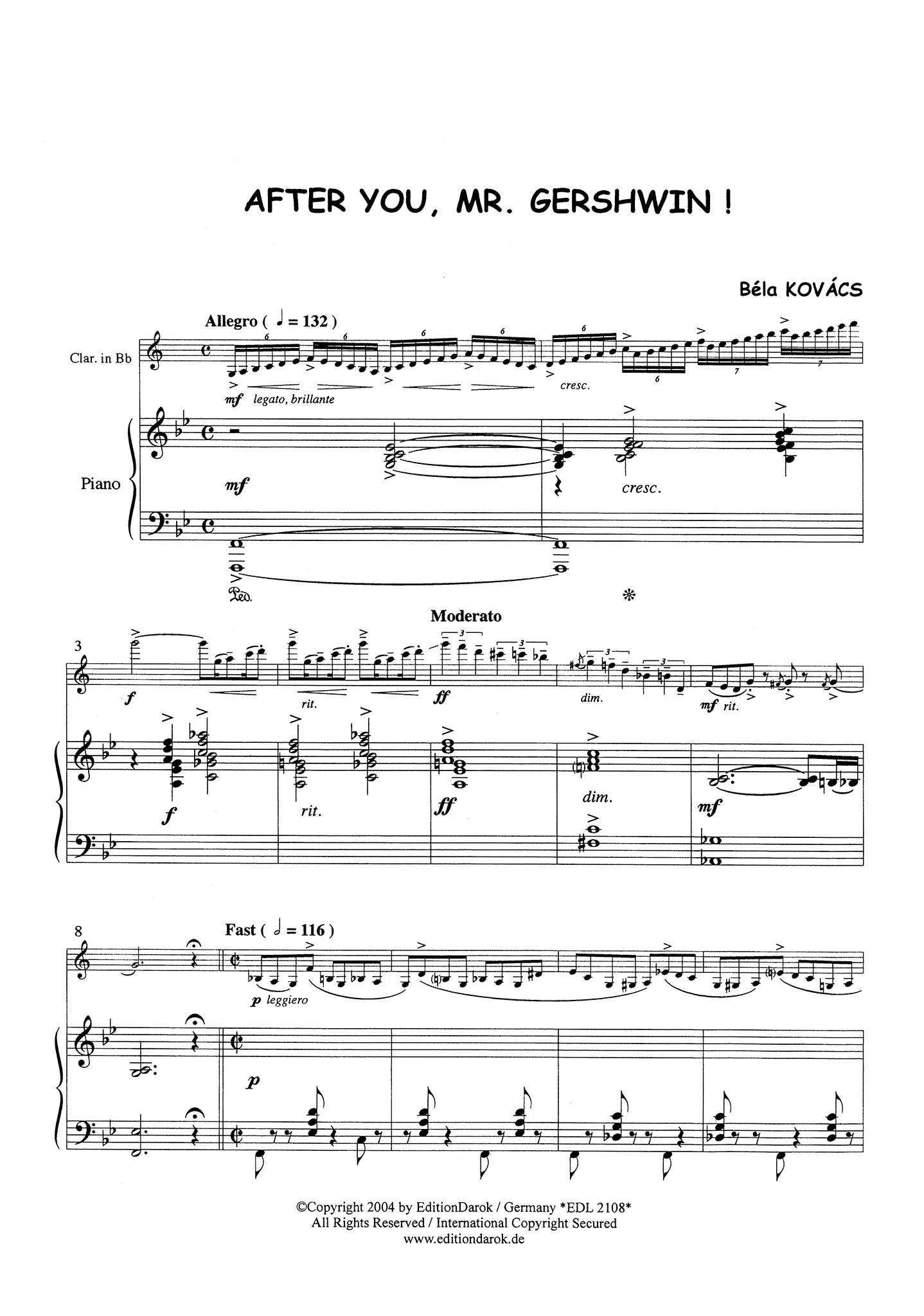 Kovács After You, Mr. Gershwin! Score