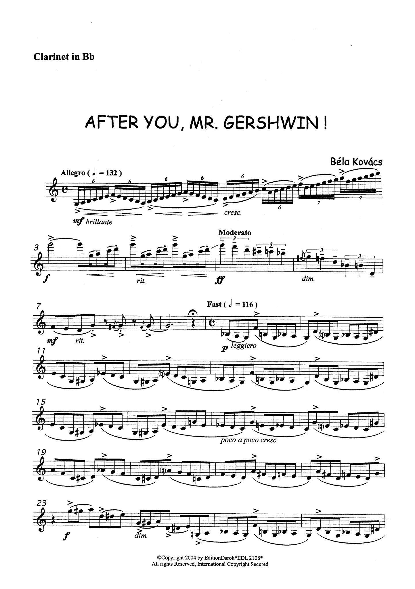 Kovács After You, Mr. Gershwin! Clarinet part