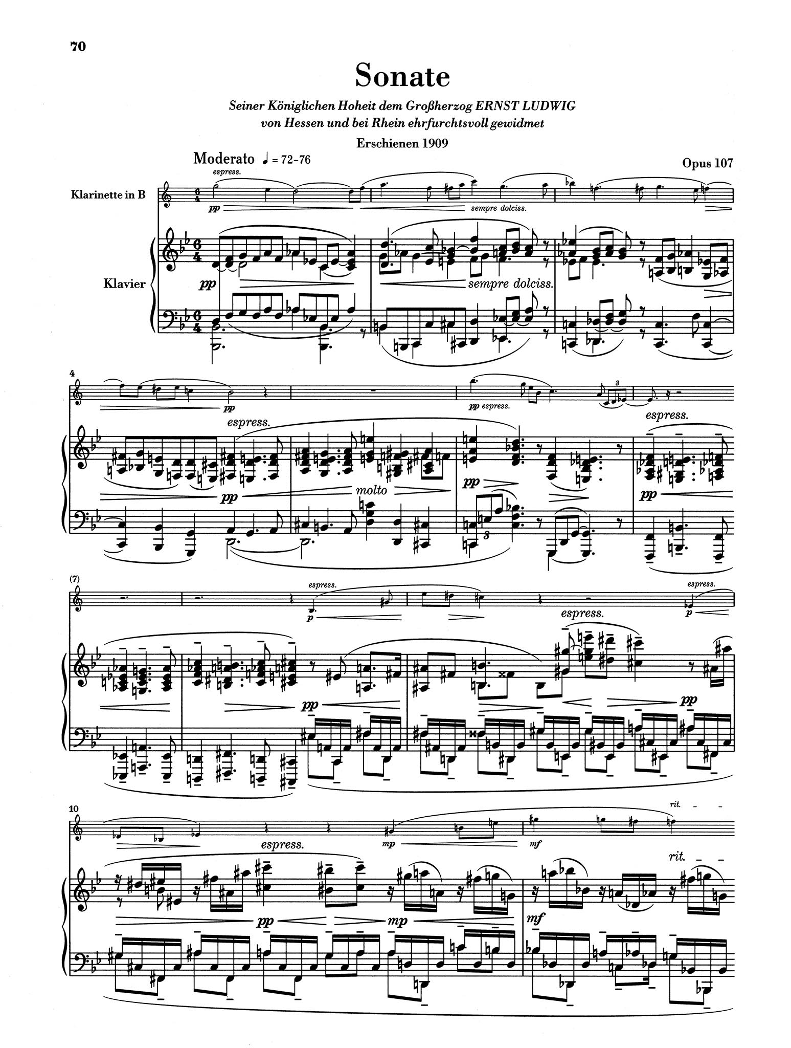 Sonata in B-flat Major, Op. 107 - Movement 1