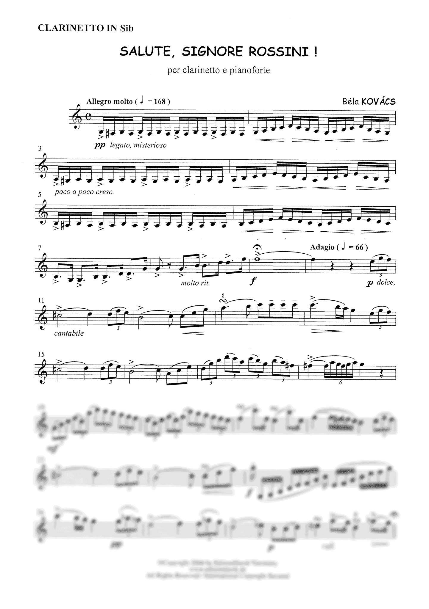 Kovács Salute, Signore Rossini! Clarinet part