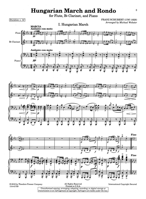 Schubert Hungarian March & Rondo trio arrangement - March