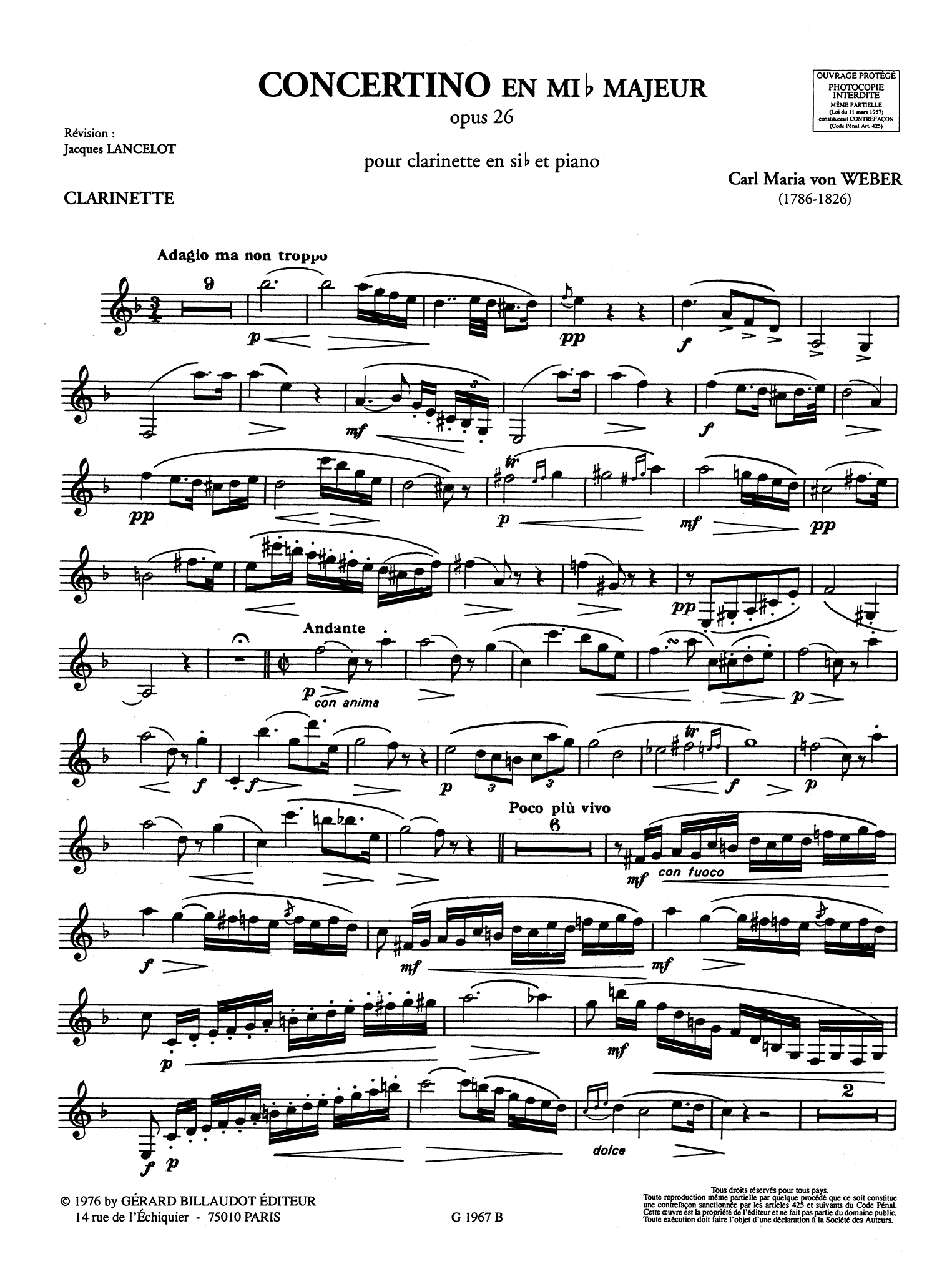 Weber Concertino, Op. 26 Clarinet part