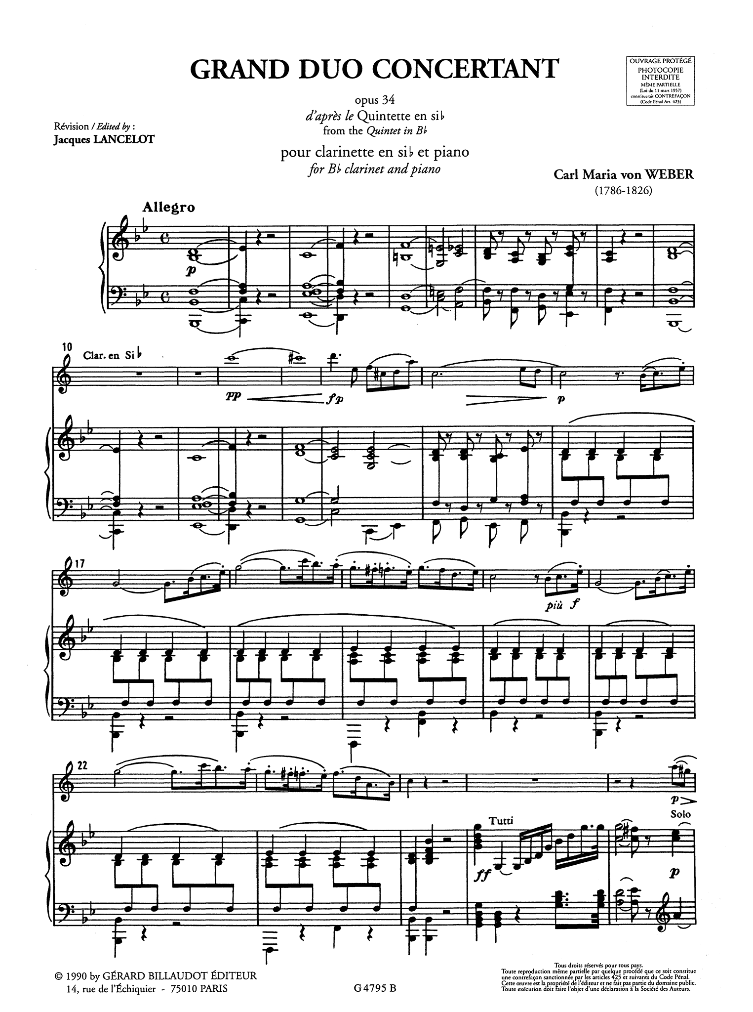 Weber Clarinet Quintet, Op. 34 - Movement 1