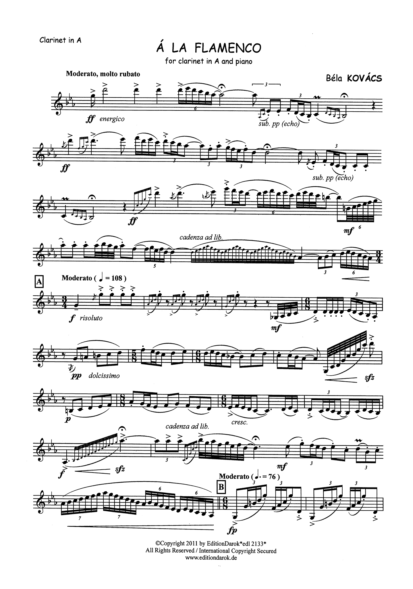 Kovács à la Flamenco Clarinet part