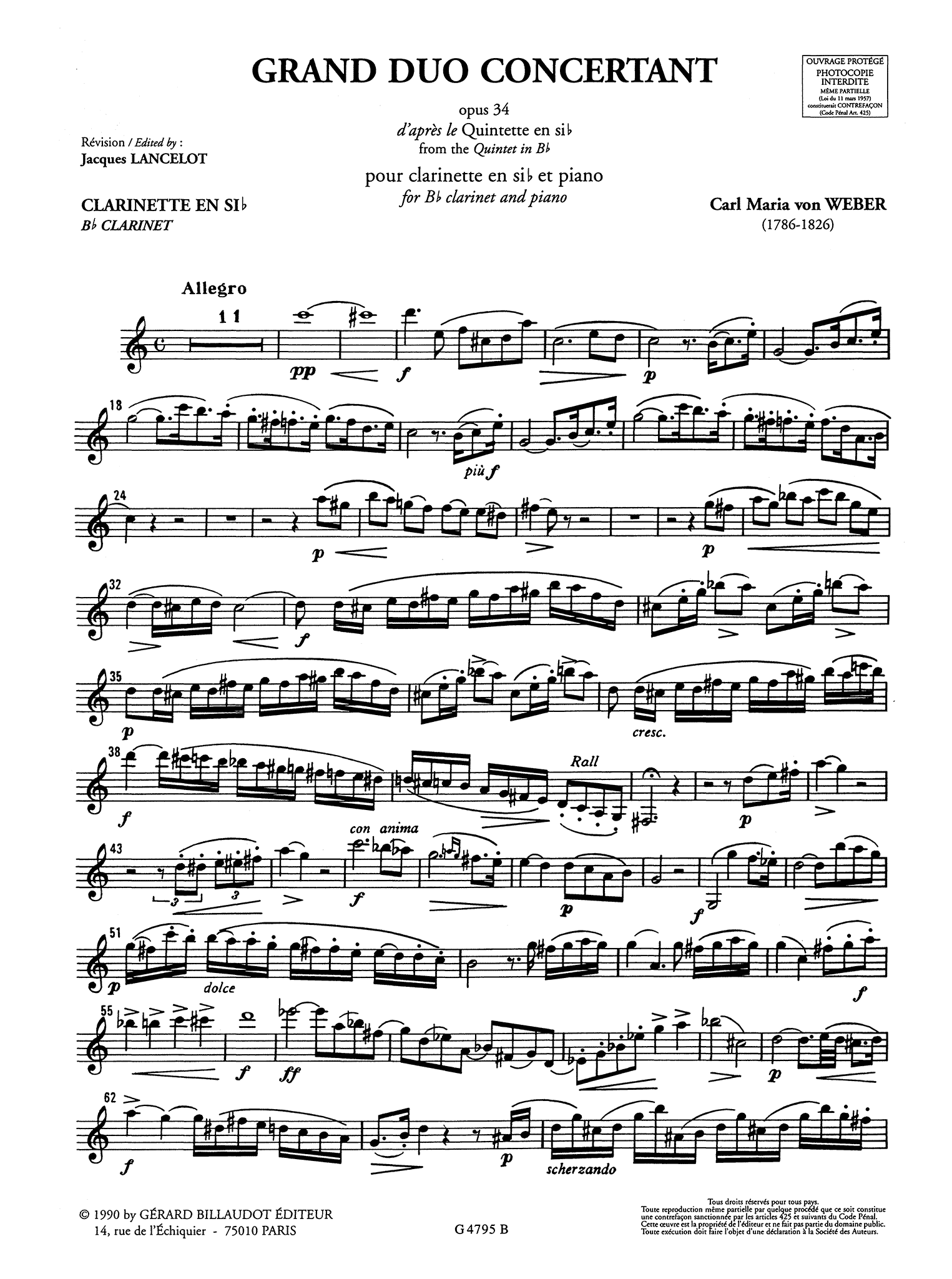 Weber Clarinet Quintet, Op. 34 Clarinet part