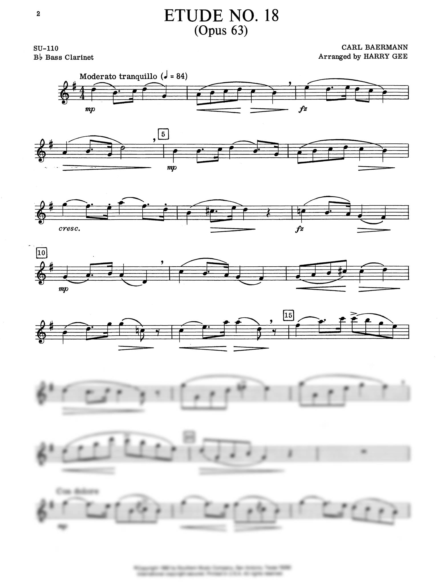Clarinet Method, Op. 63, Div. II No. 18 Clarinet part