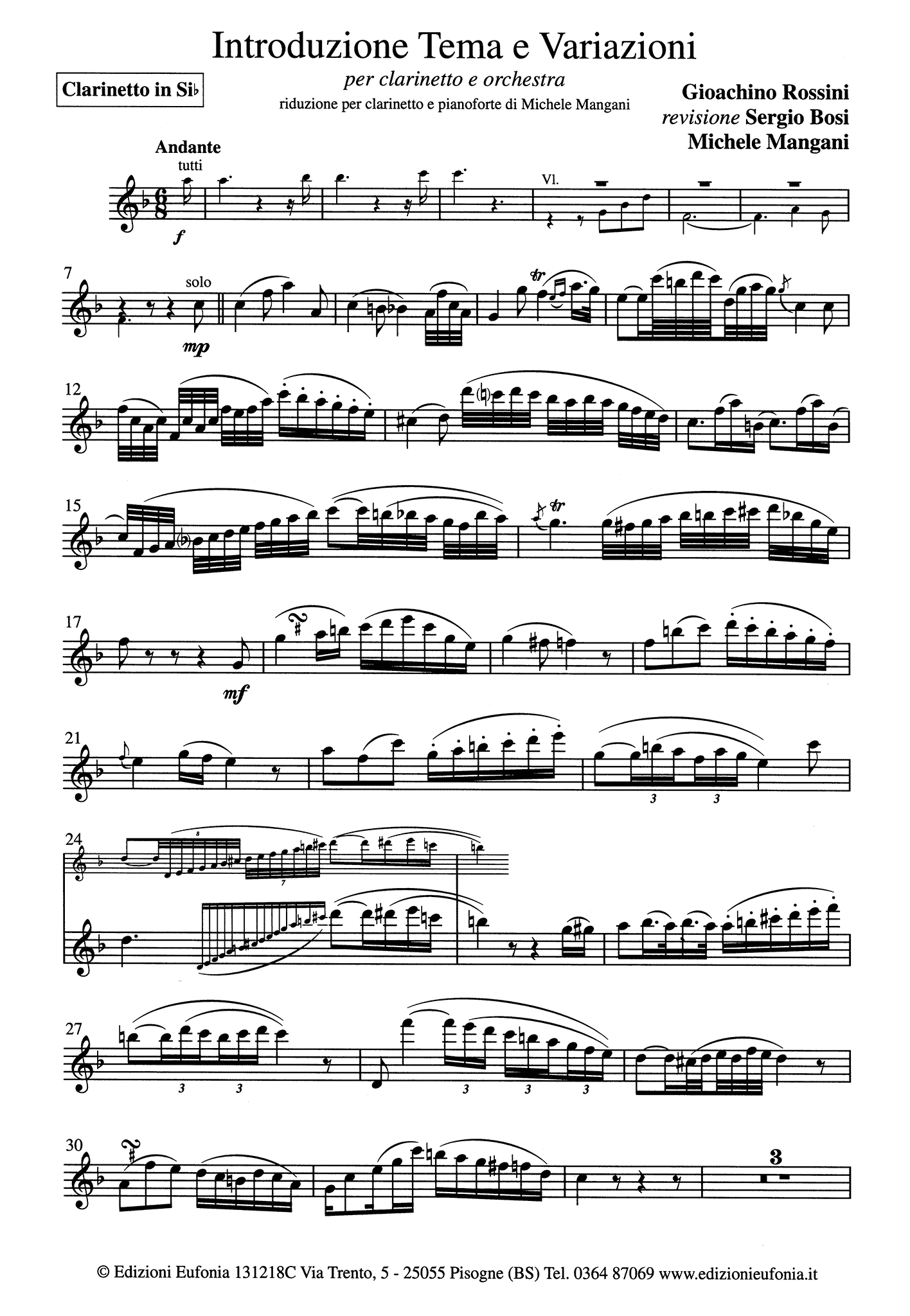 Introduction, Theme & Variations Clarinet part