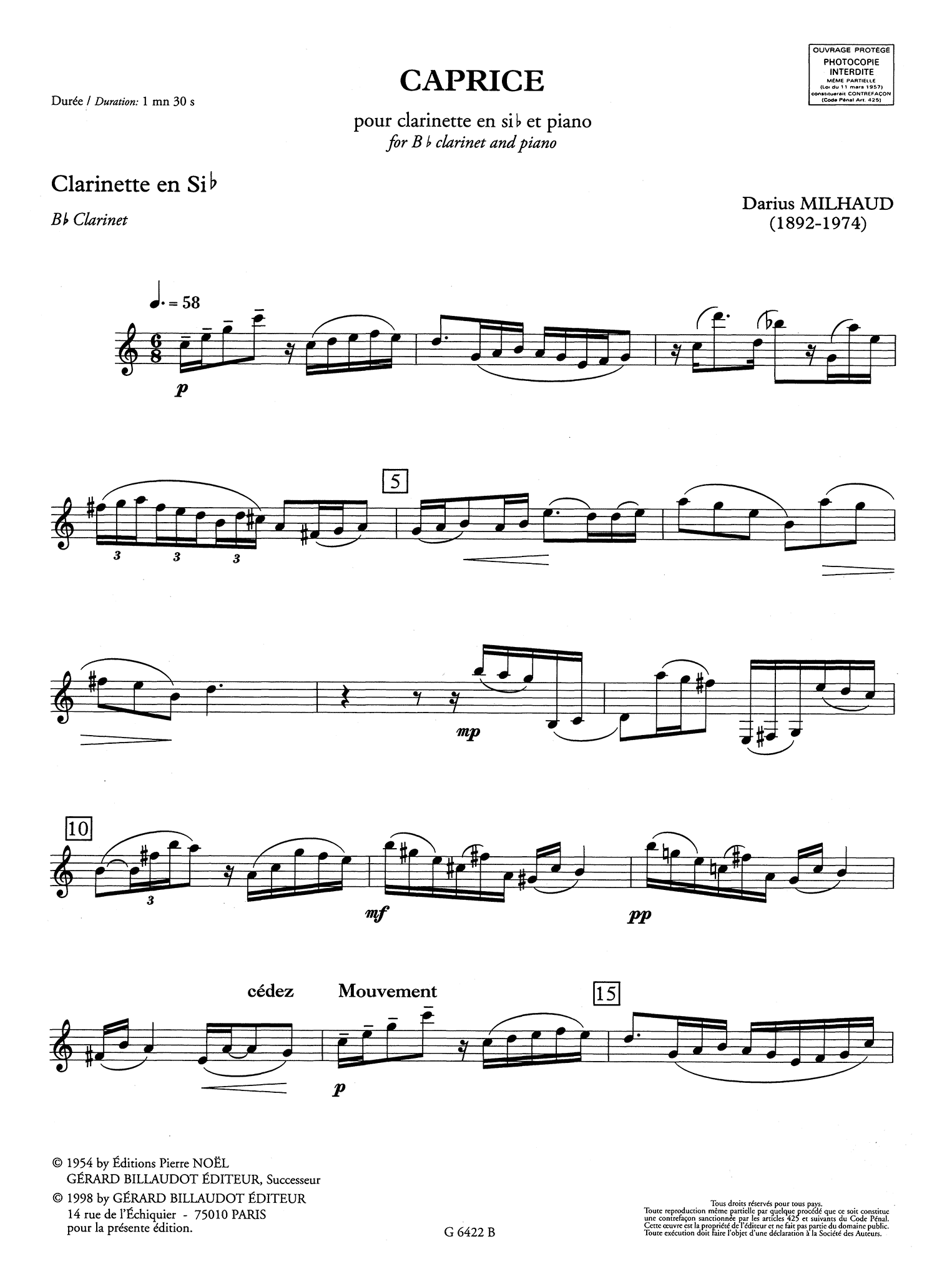 Milhaud Caprice, Op. 335 Clarinet part