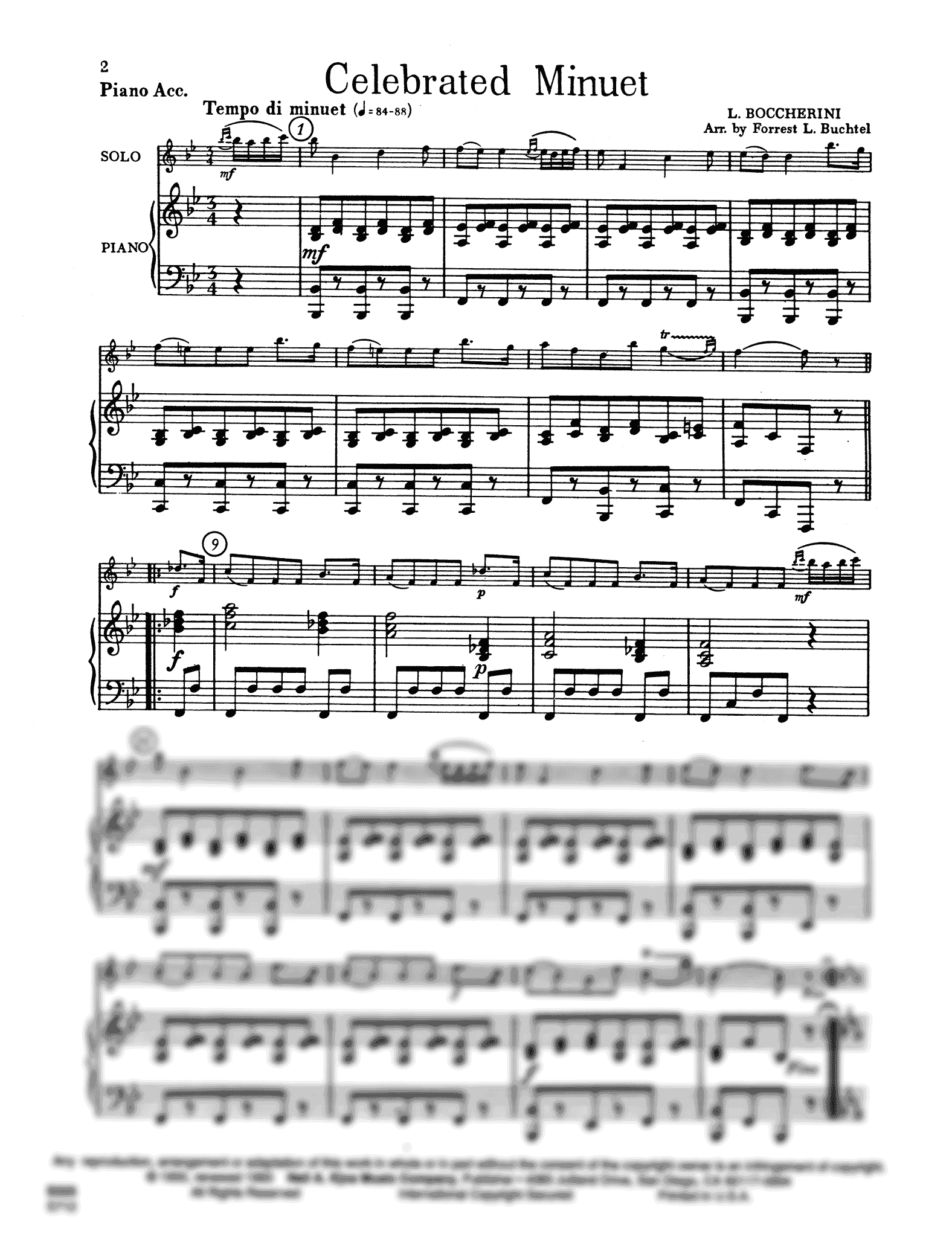 Celebrated Minuet, from String Quintet in E Major, Op. 11 No. 5 Score