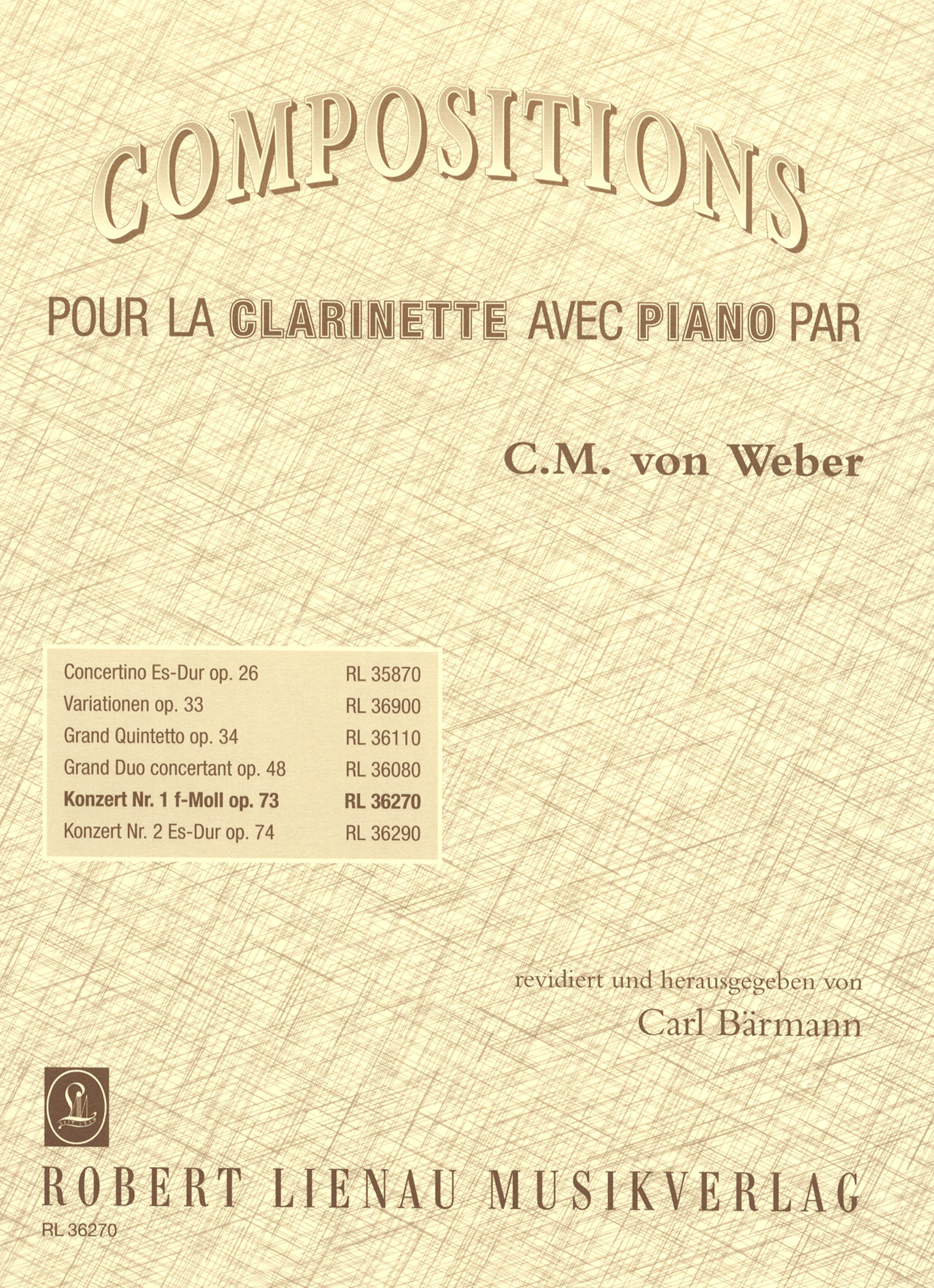 Weber Clarinet Concerto No. 1, Op. 73, J. 114 Cover