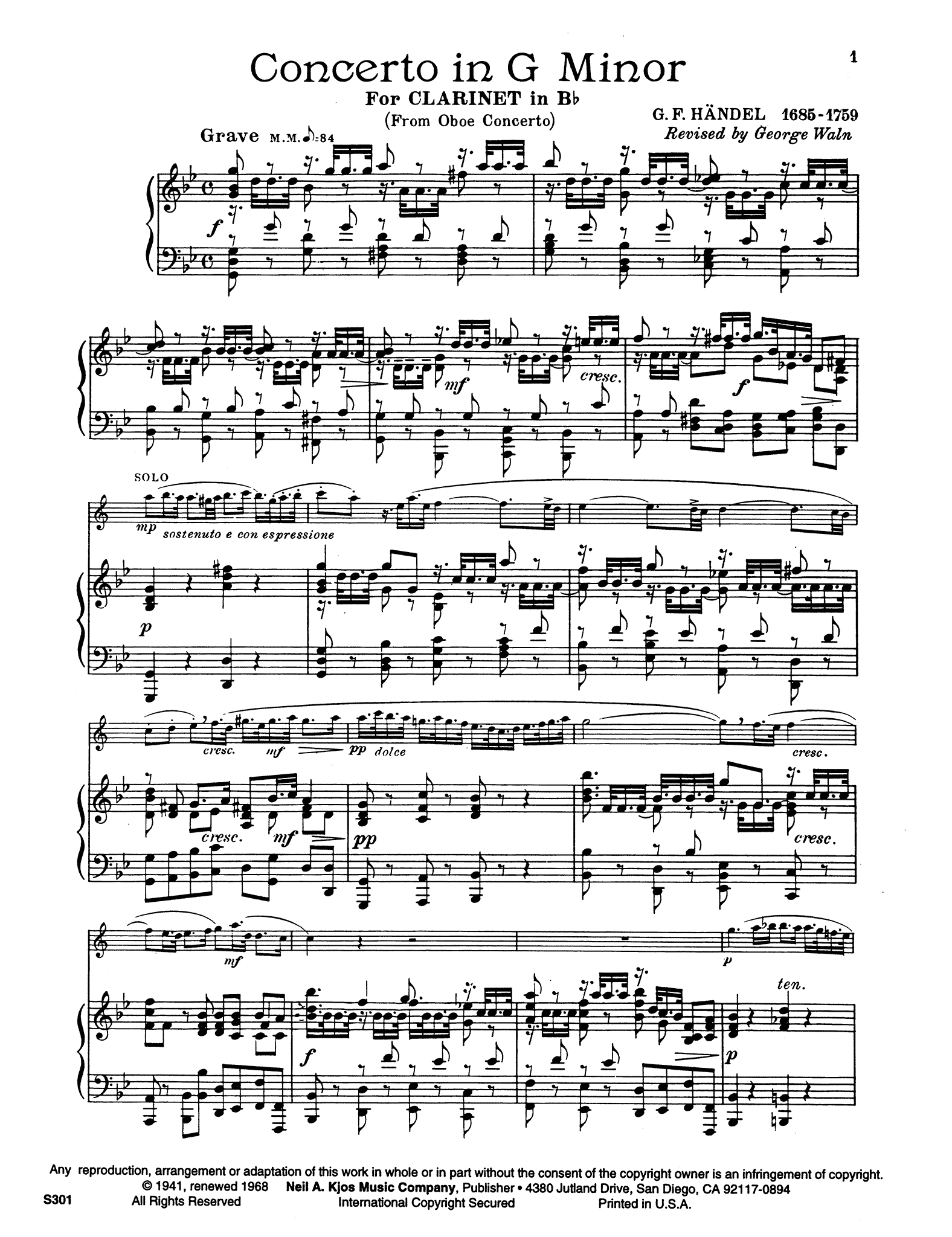 Oboe Concerto No. 3 in G Minor, HWV 287 Score Page 1