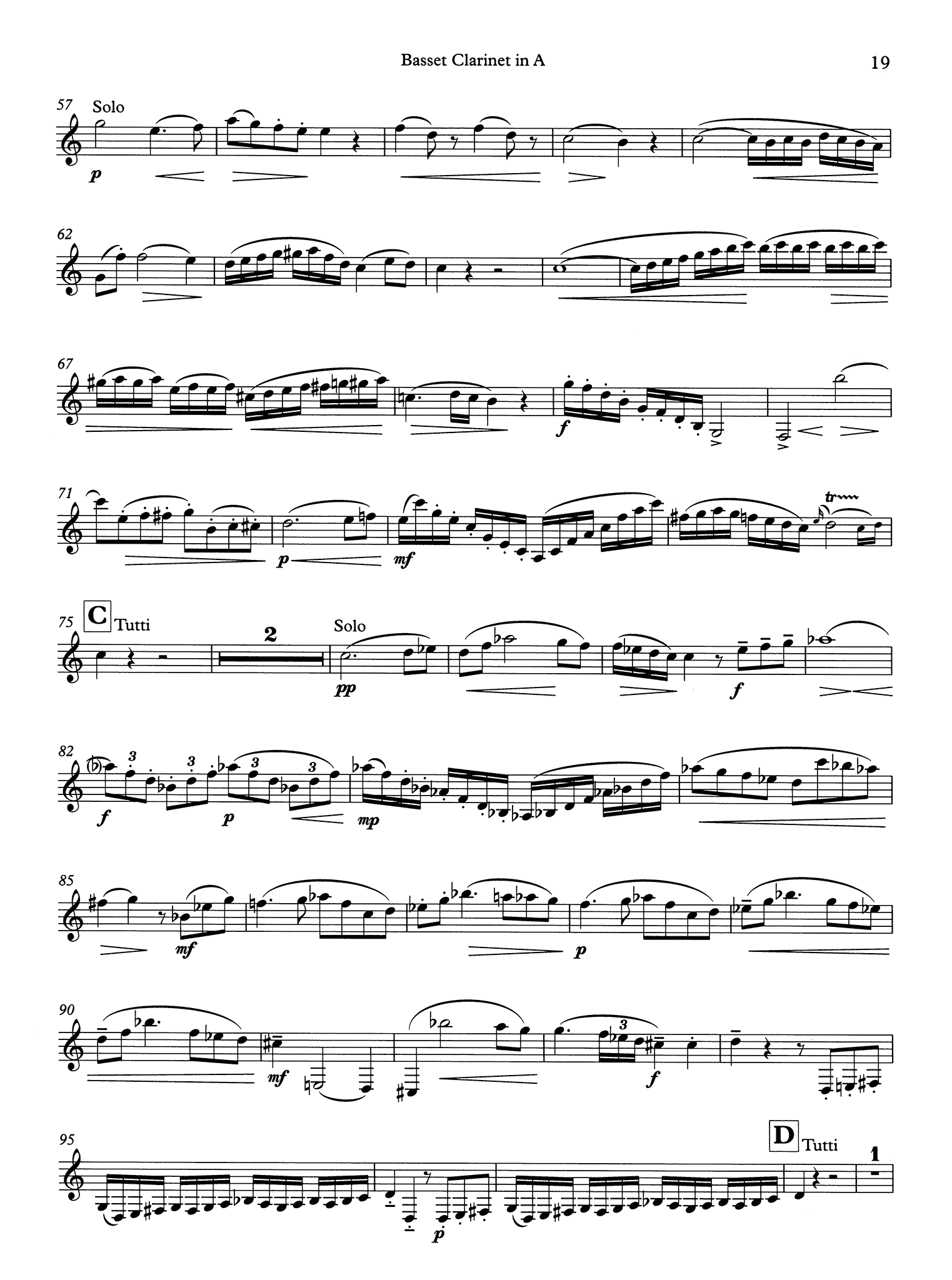 Clarinet Concerto in A Major, K. 622 Basset Clarinet part