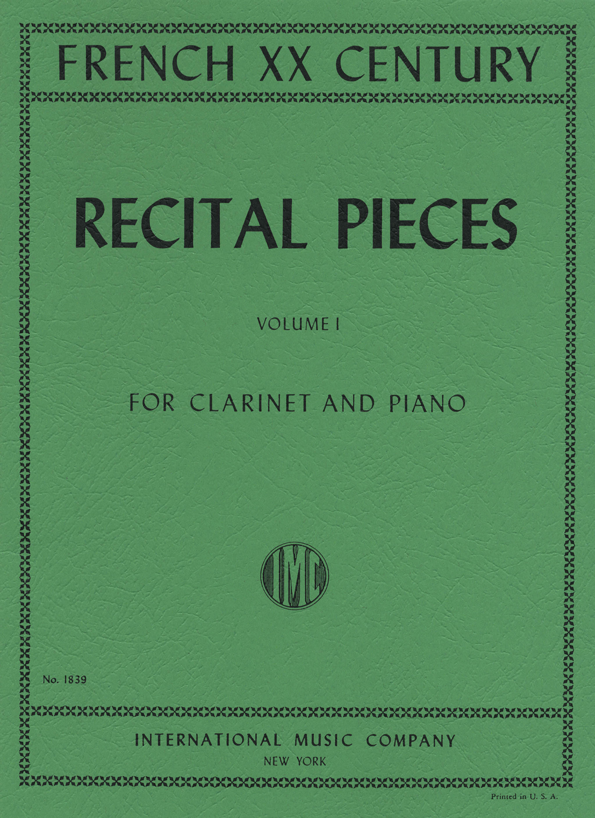 French 20th Century Recital Pieces, Volume 1 Cover