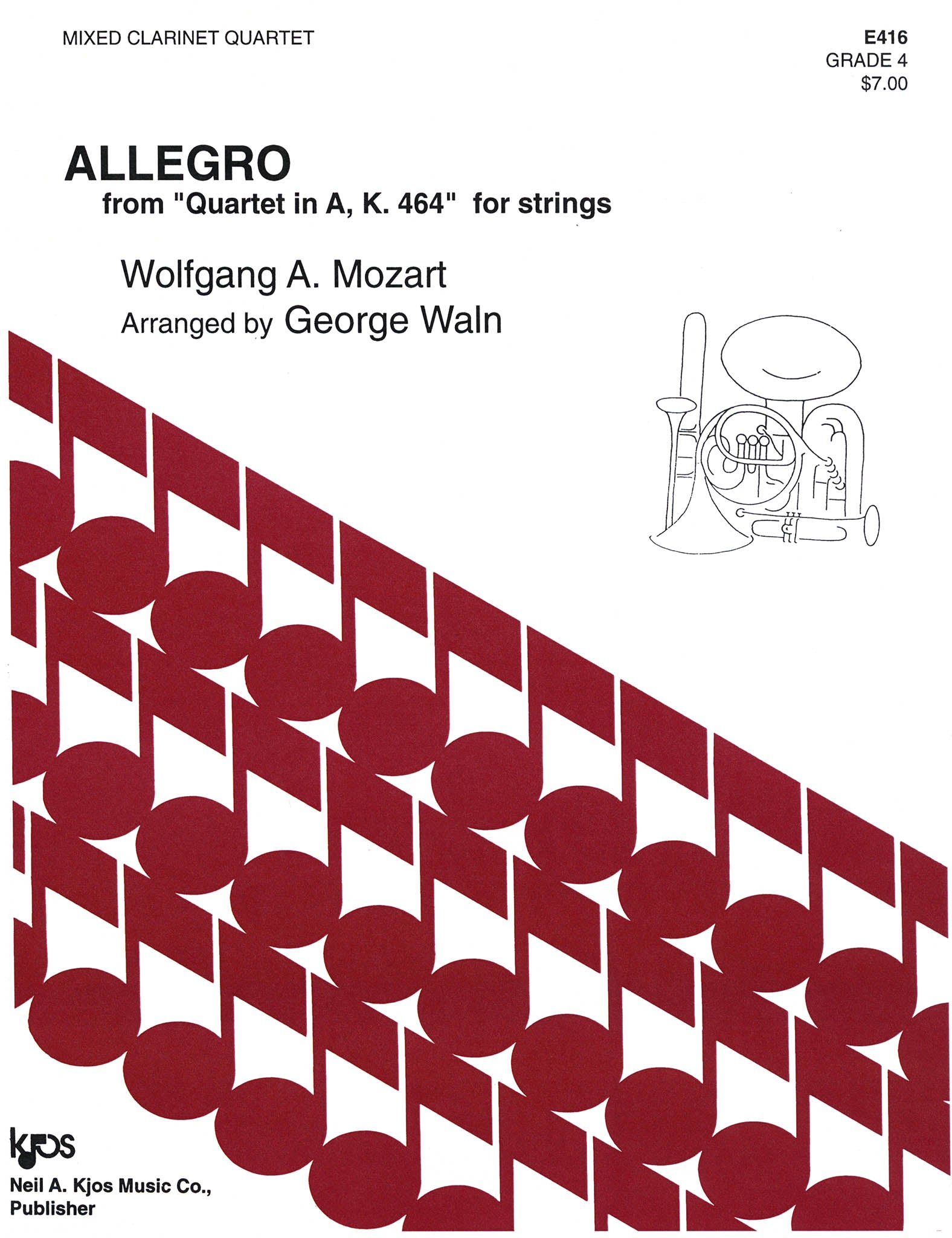 Allegro, from String Quartet No. 18 in A Major, K. 464 Cover
