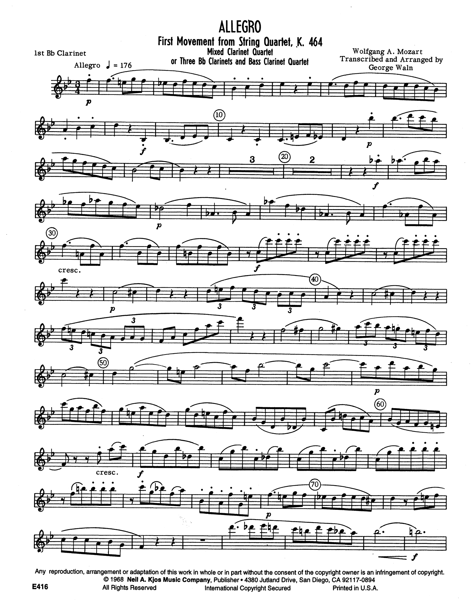 Allegro, from String Quartet No. 18 in A Major, K. 464 First Clarinet part