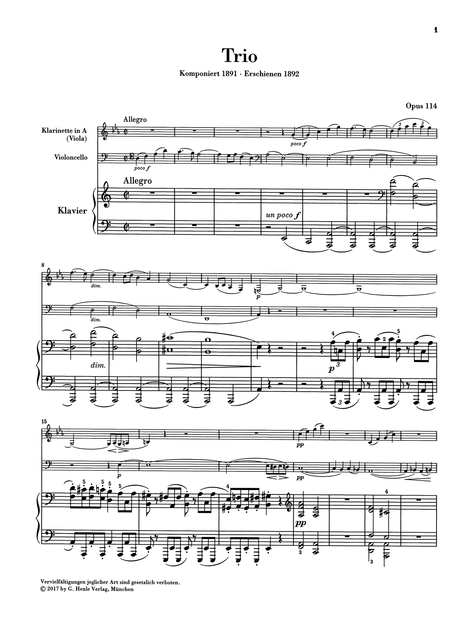 Brahms Clarinet Trio in A Minor, Op. 114 - Movement 1