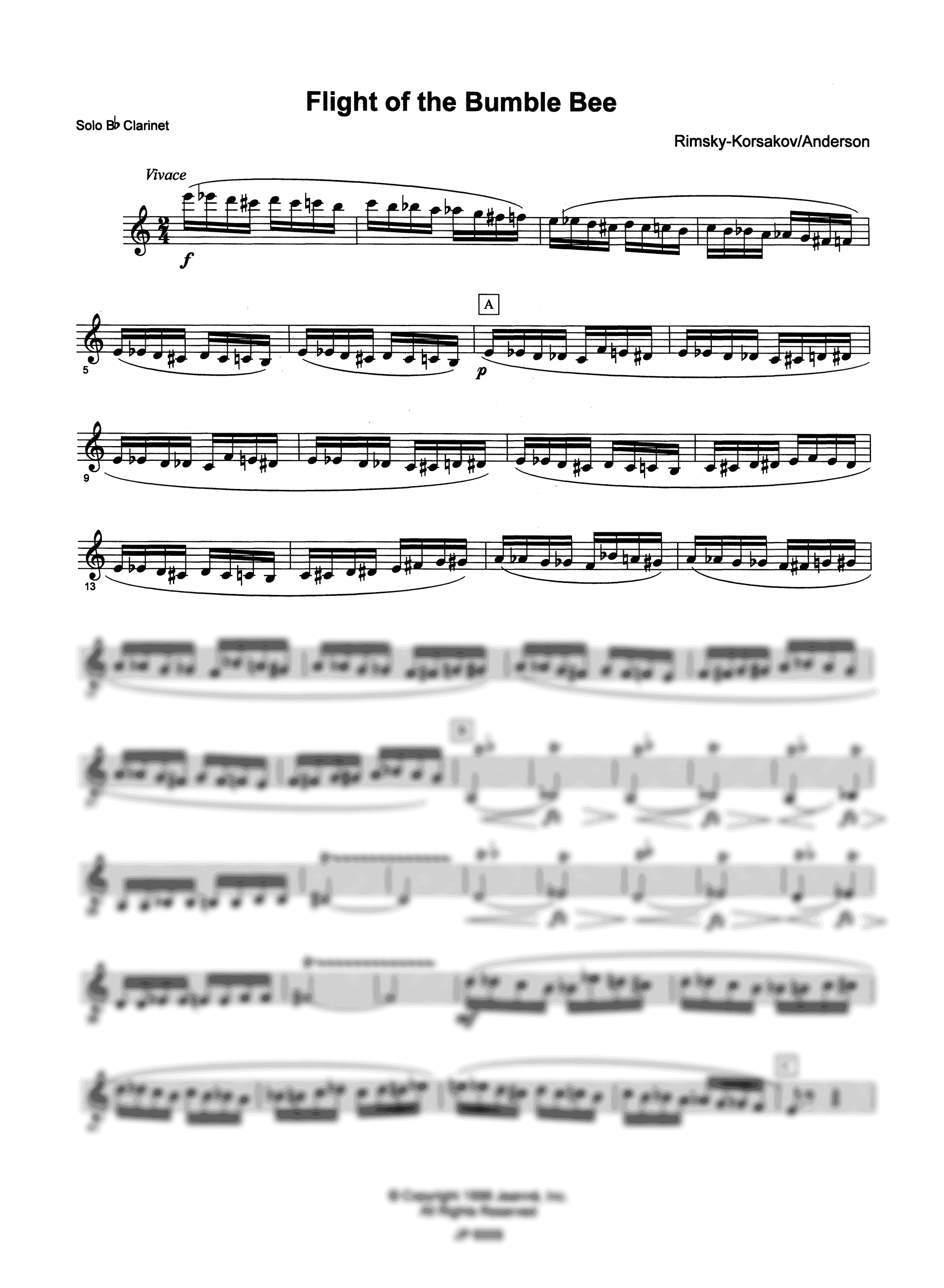 Flight of the Bumblebee for Clarinet & Concert Band Solo Clarinet Part