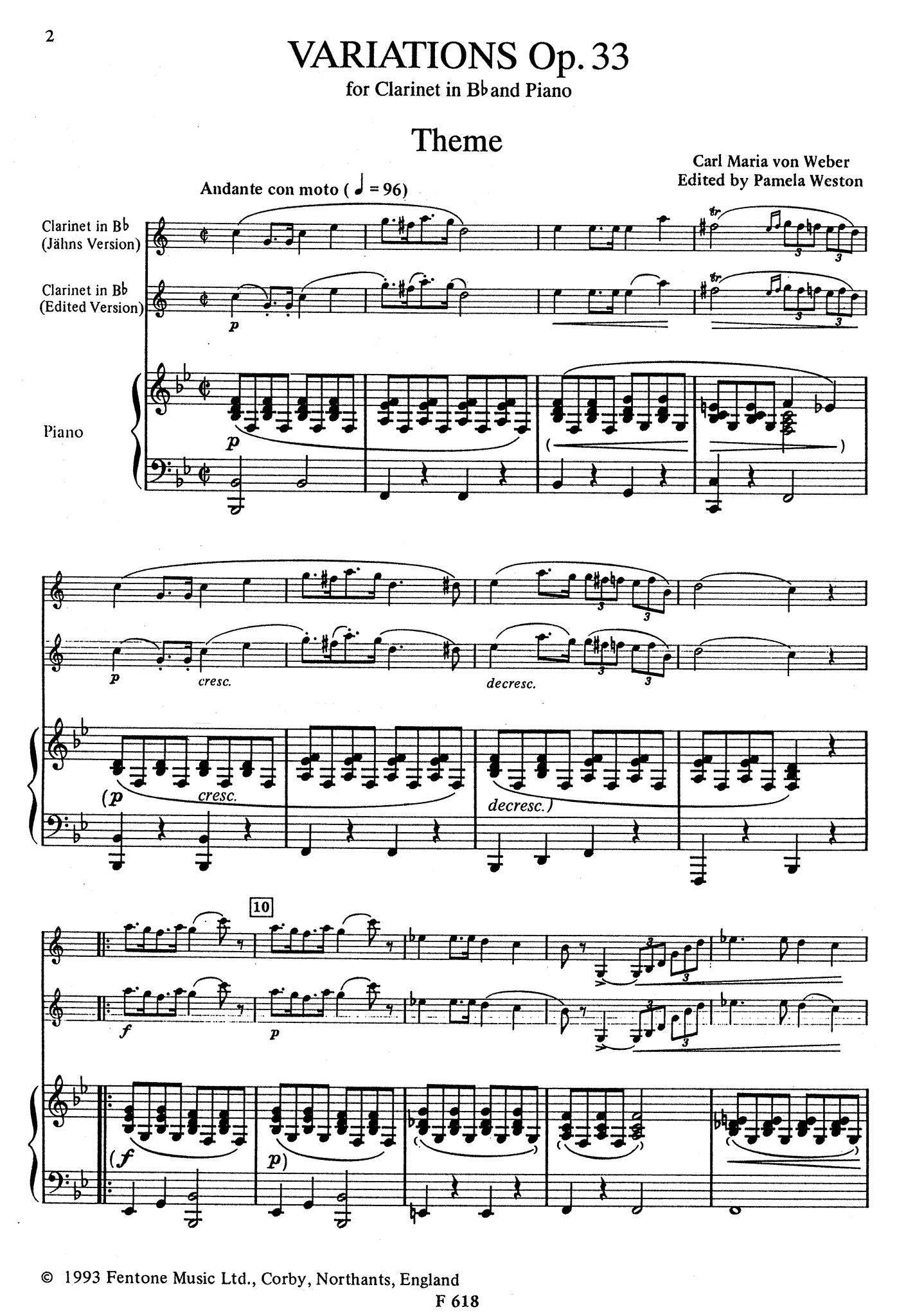 Variations on a theme from Silvana, Op. 33 Score
