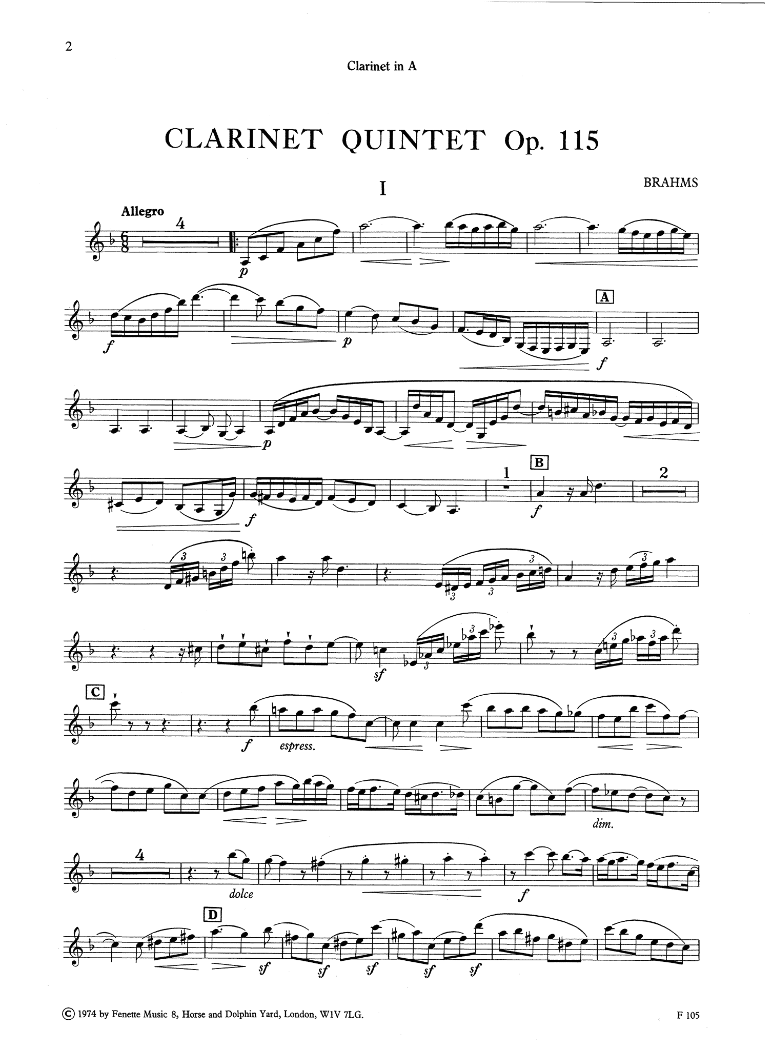 Clarinet Quintet, Op. 115 Clarinet part