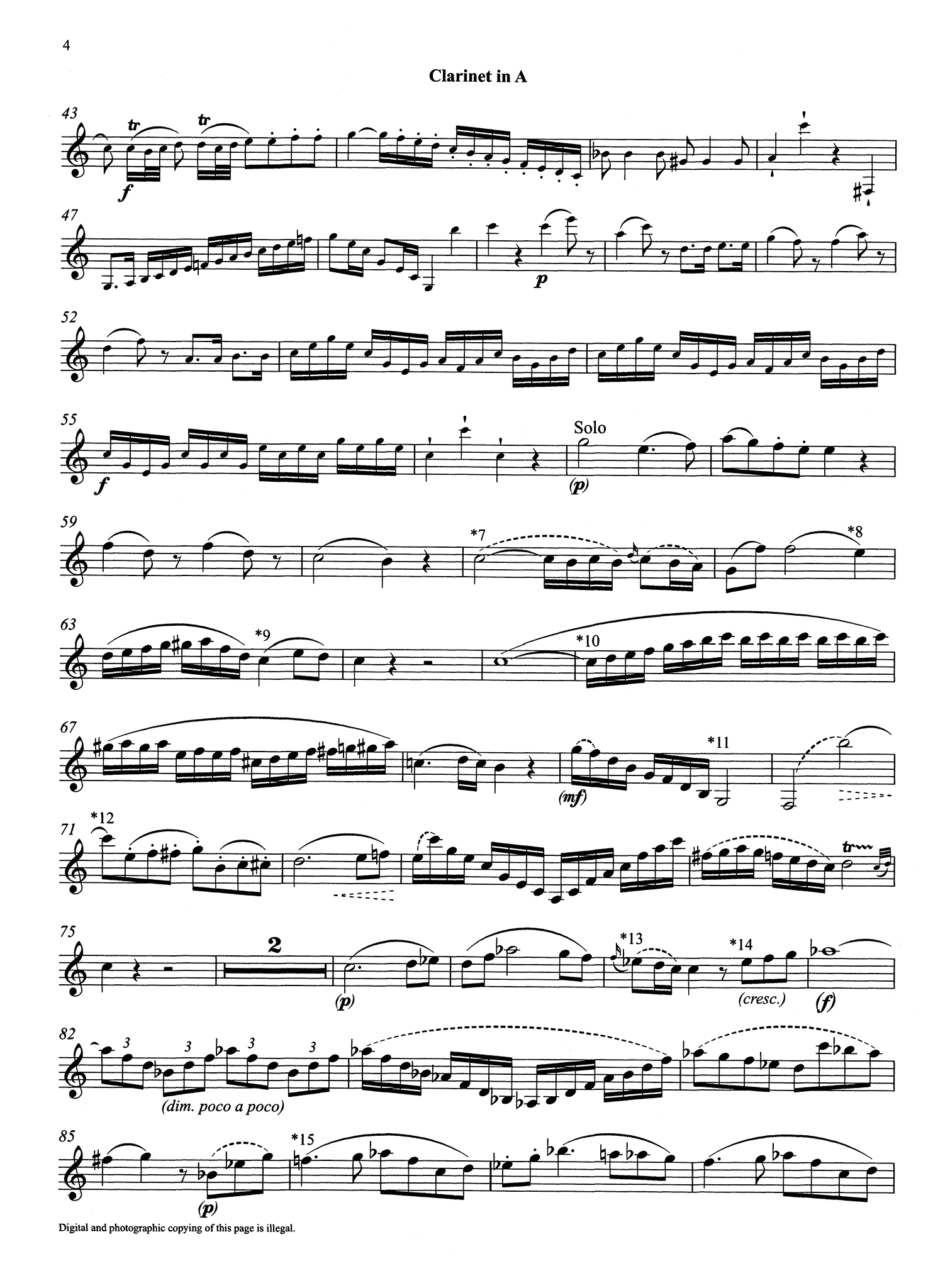Clarinet Concerto in A Major, K. 622 A Clarinet part