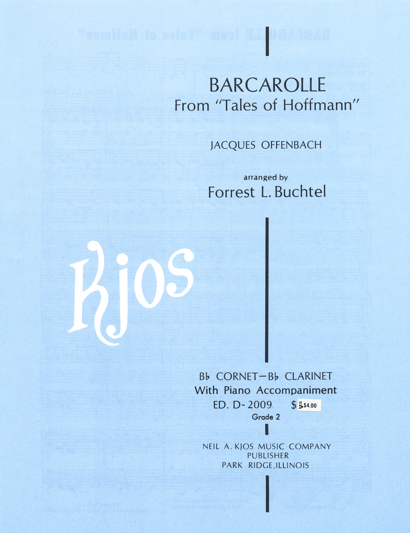Barcarolle, from 'Les contes d'Hoffmann' Cover