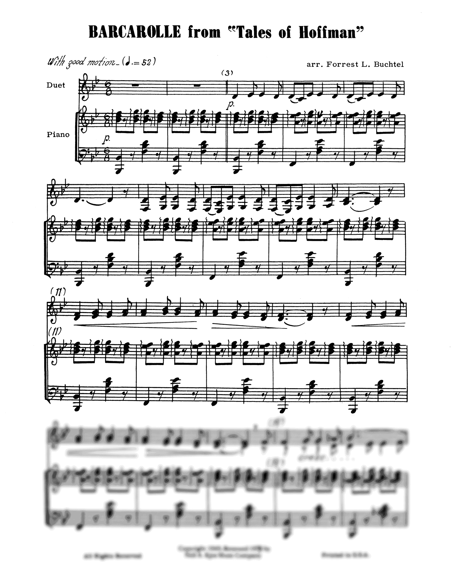 Barcarolle, from 'Les contes d'Hoffmann' Score