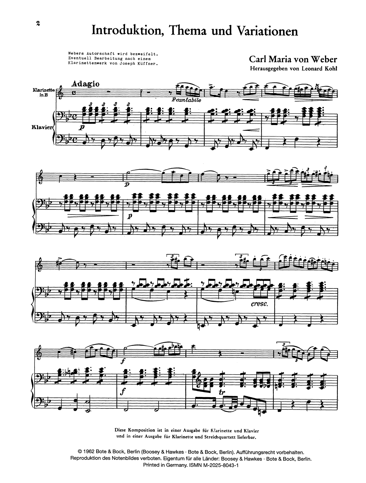 Introduction, Theme & Variations, Op. 32 Score