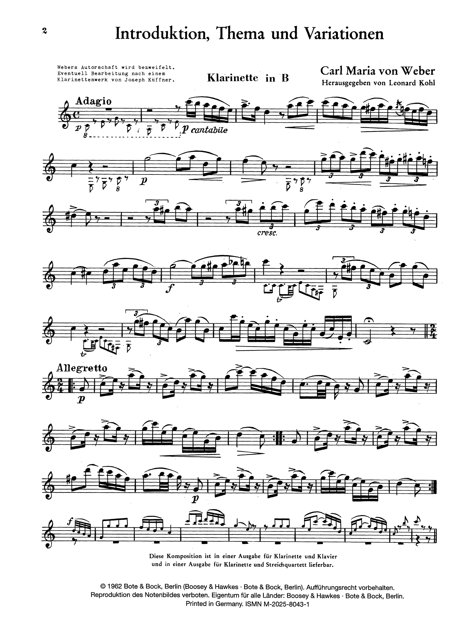 Introduction, Theme & Variations, Op. 32 Clarinet part