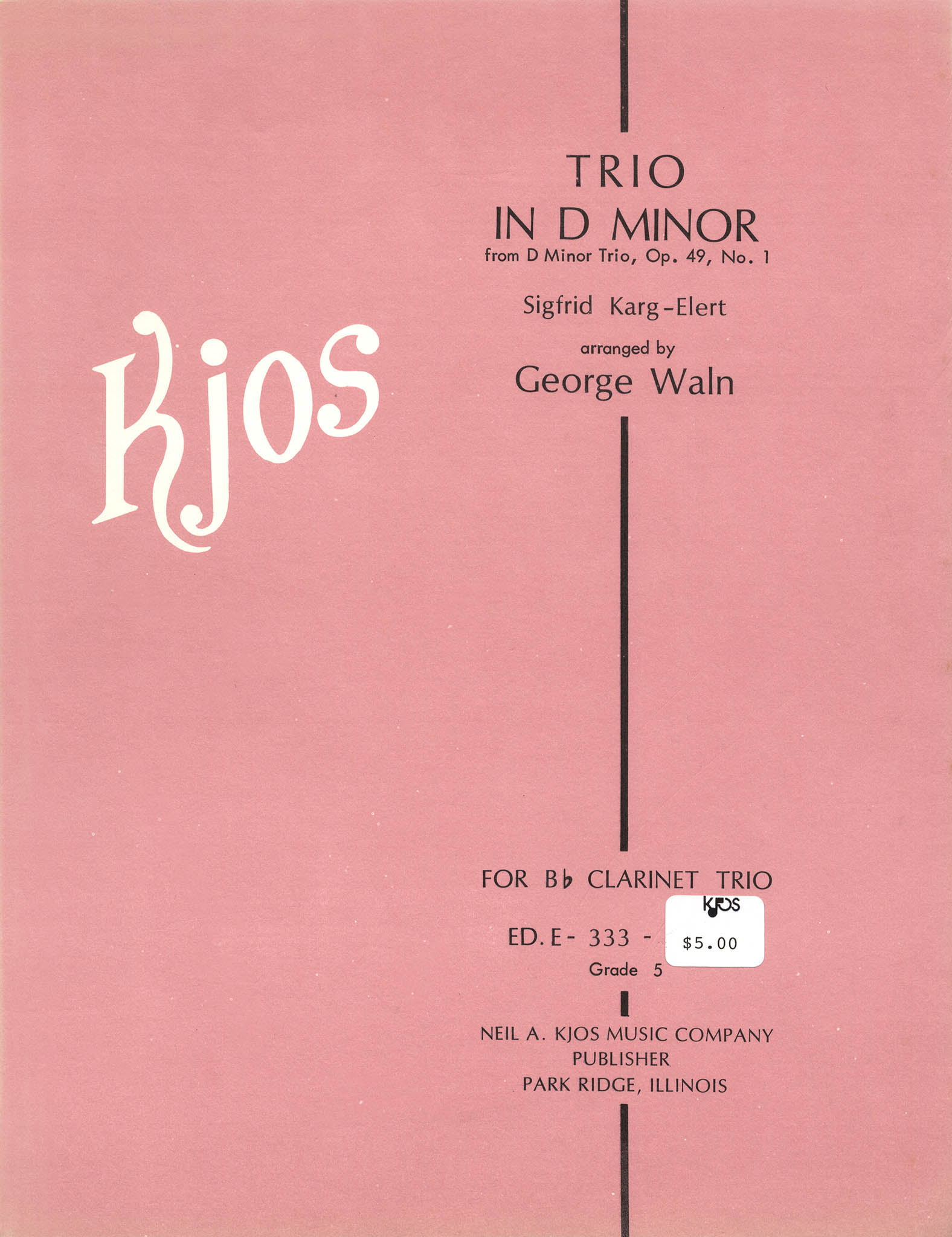 Two Movements from Trio in D Minor, Op. 49 No. 1 Cover