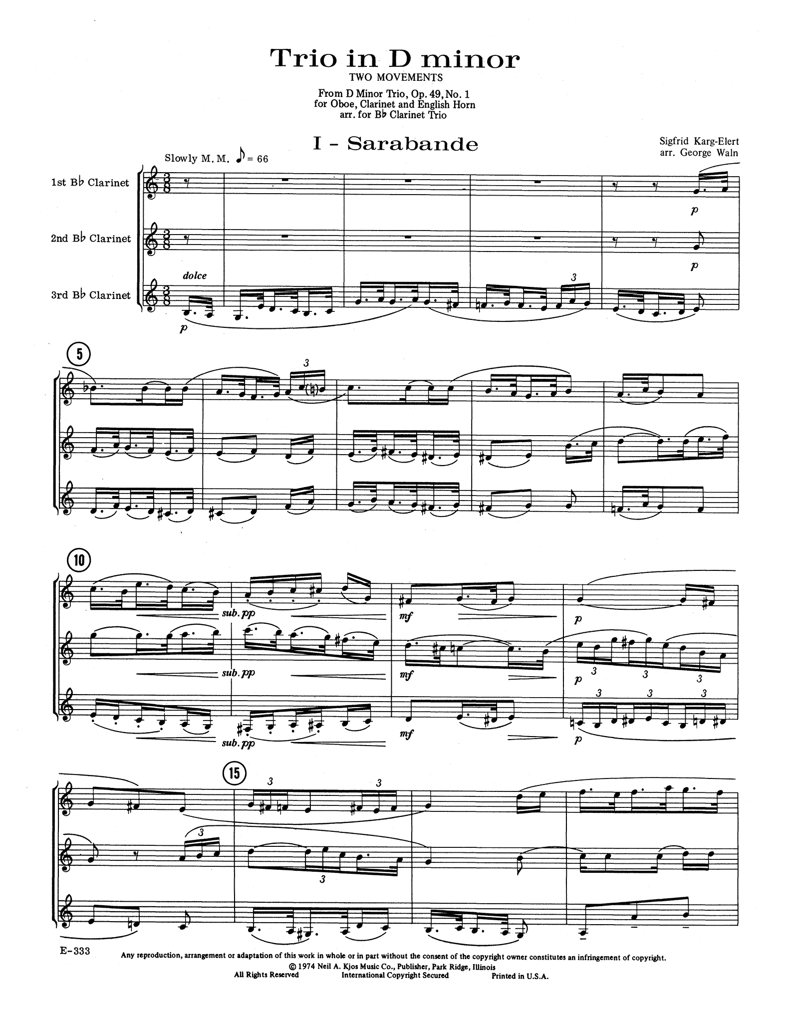 Two Movements from Trio in D Minor, Op. 49 No. 1 - Movement 1