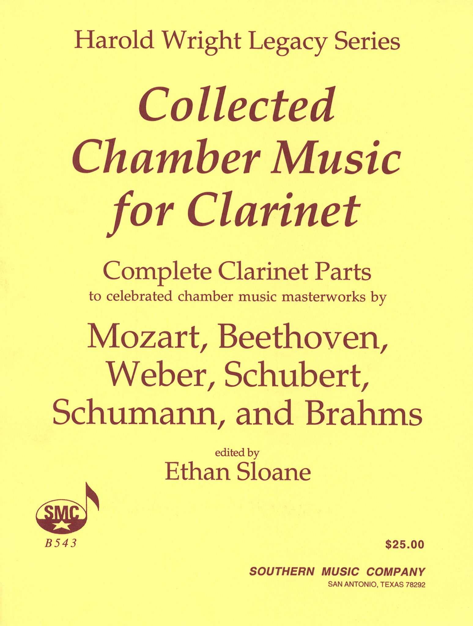 Harold Wright Collected Chamber Music for Clarinet Cover