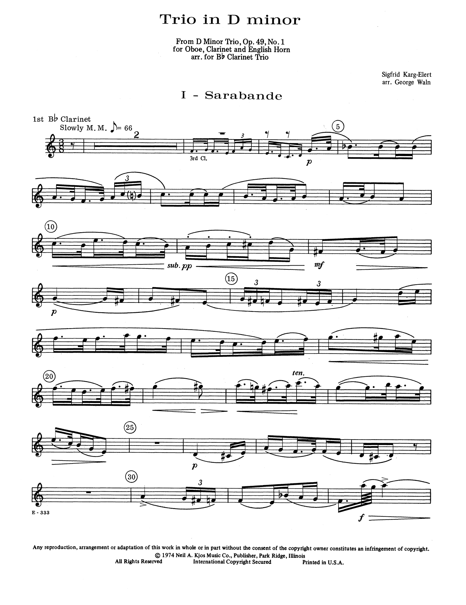Two Movements from Trio in D Minor, Op. 49 No. 1 First Clarinet part
