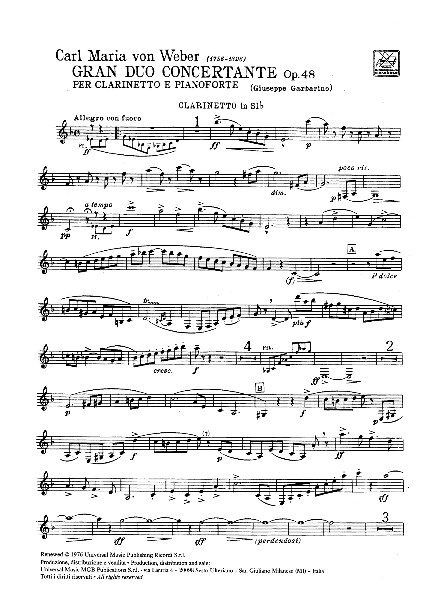 Grand Duo Concertant, Op. 48 Clarinet part