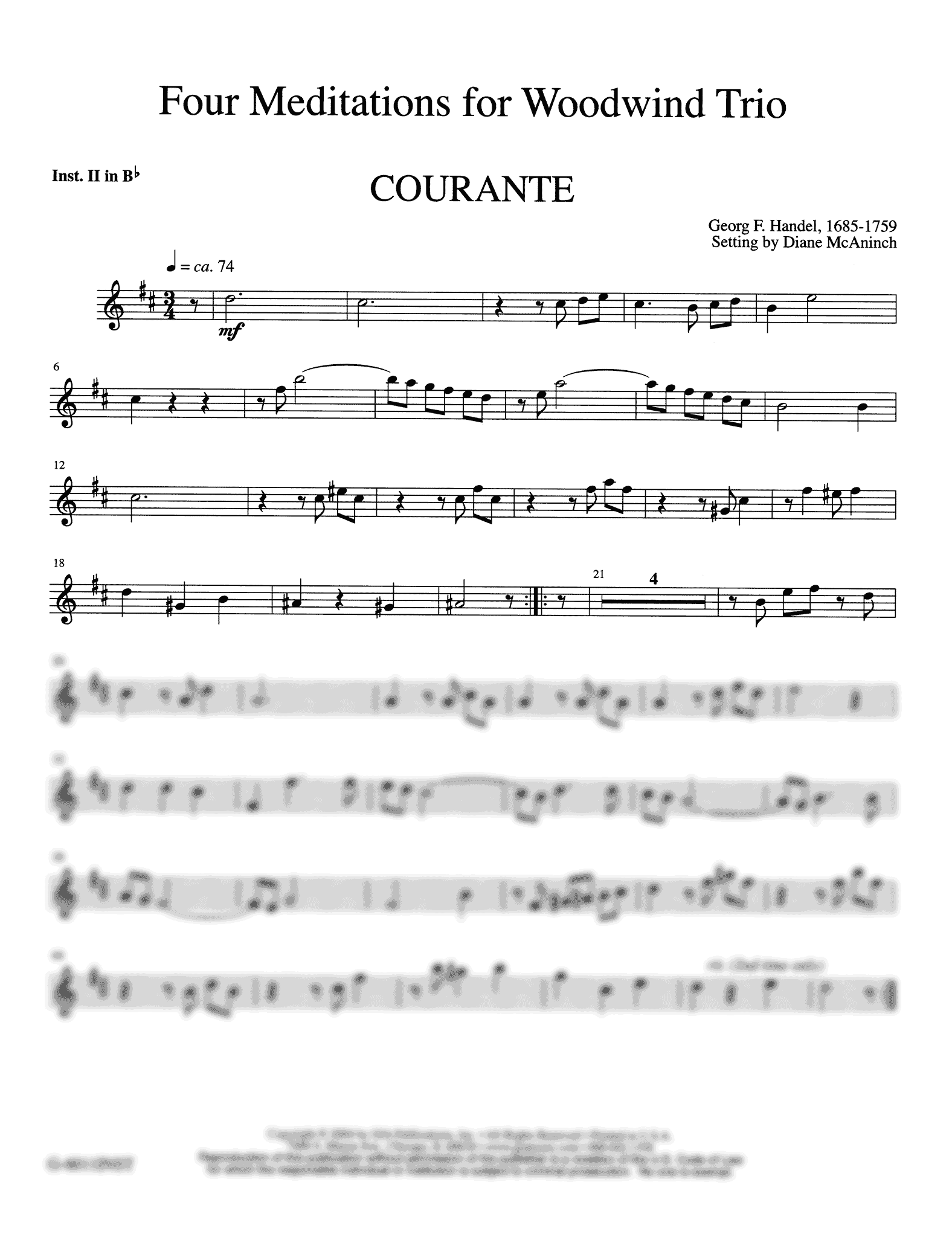 Four Meditations for Woodwind Trio Clarinet part