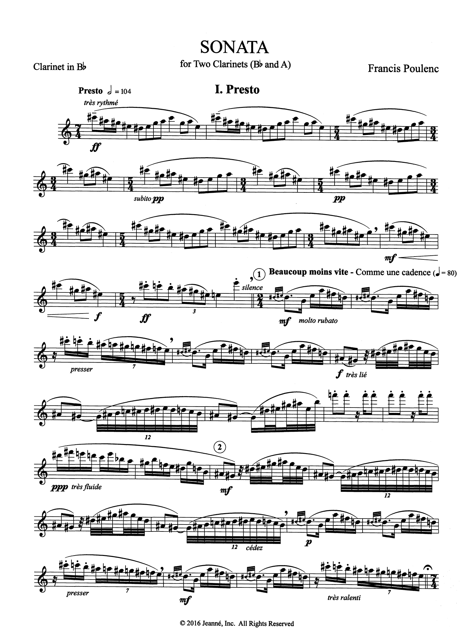 Poulenc Sonata for Two Clarinets, FP 7 B-flat Clarinet part