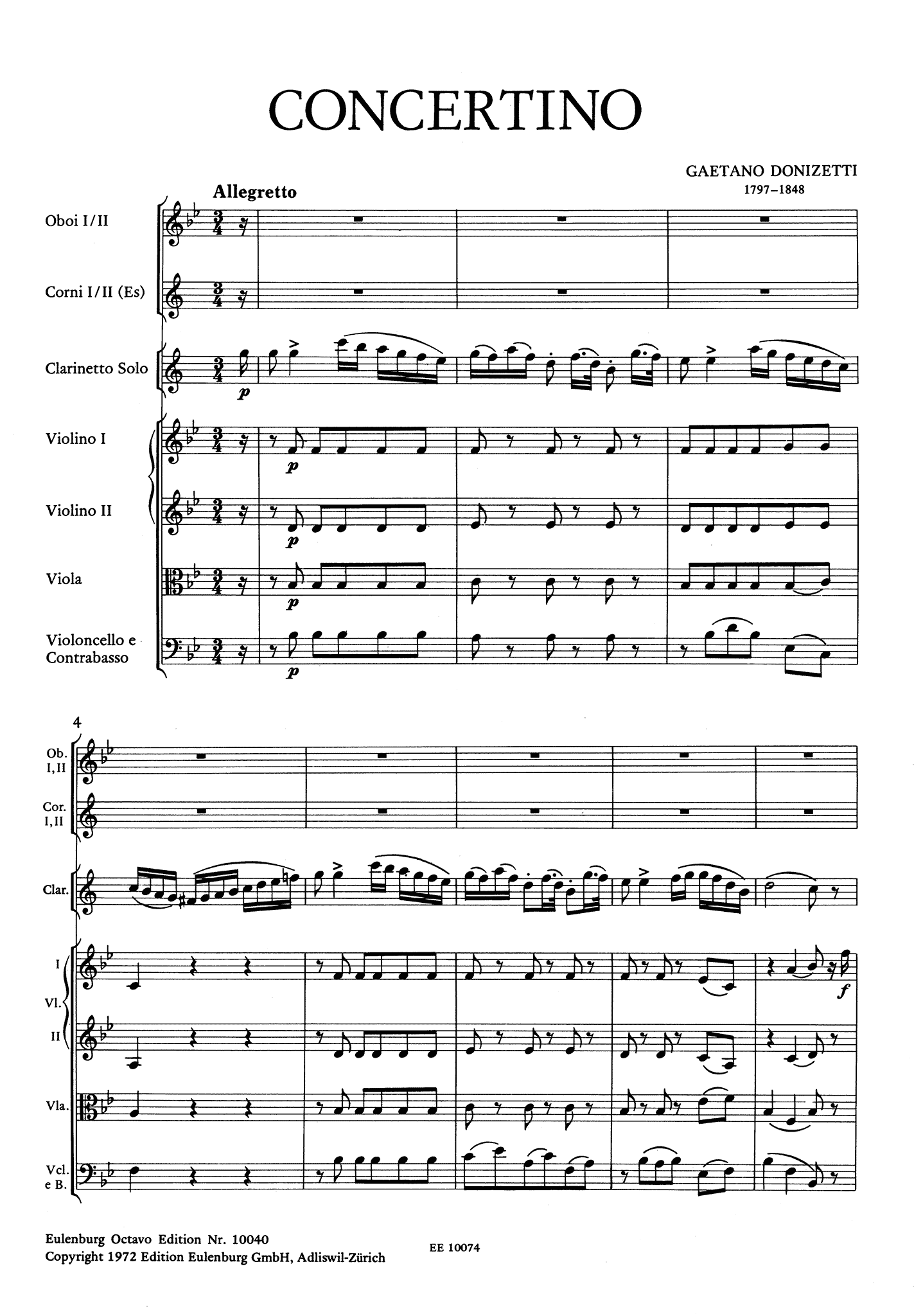 Donizetti Concertino in B-flat Major Full Score