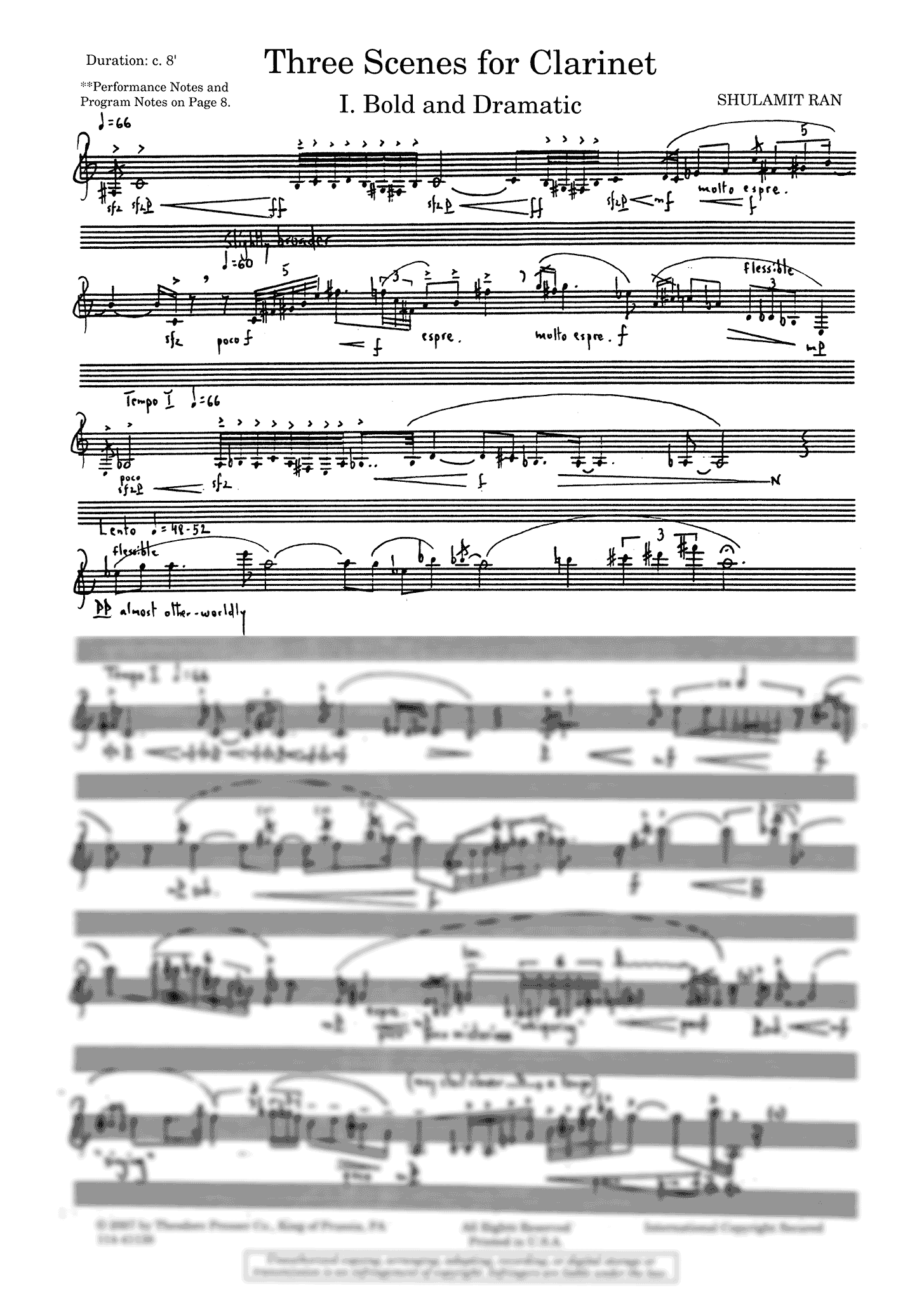 Three Scenes for Clarinet - Movement 1