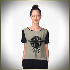 Crop circle bird chiffon top