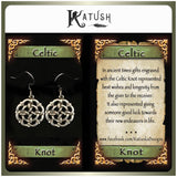 Sterling silver Celtic knot earrings with description card.