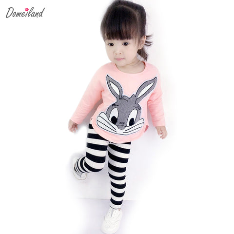 2017 autumn domeiland cute children's Princess outfits clothes sets for kids girl cotton cute rabbit sweater stripe pant suit