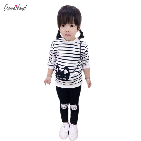 2017 spring brand domeiland children's boutique outfits clothes sets 2pcs kids girl cotton Striped cute cat pants suit clothing