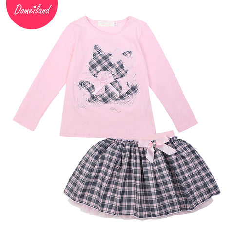 2017 Fashion spring brand domeiland Children clothing Outfits 2pcs Kids Girl cotton cat long sleeve T-Shirt plaid skirts clothes