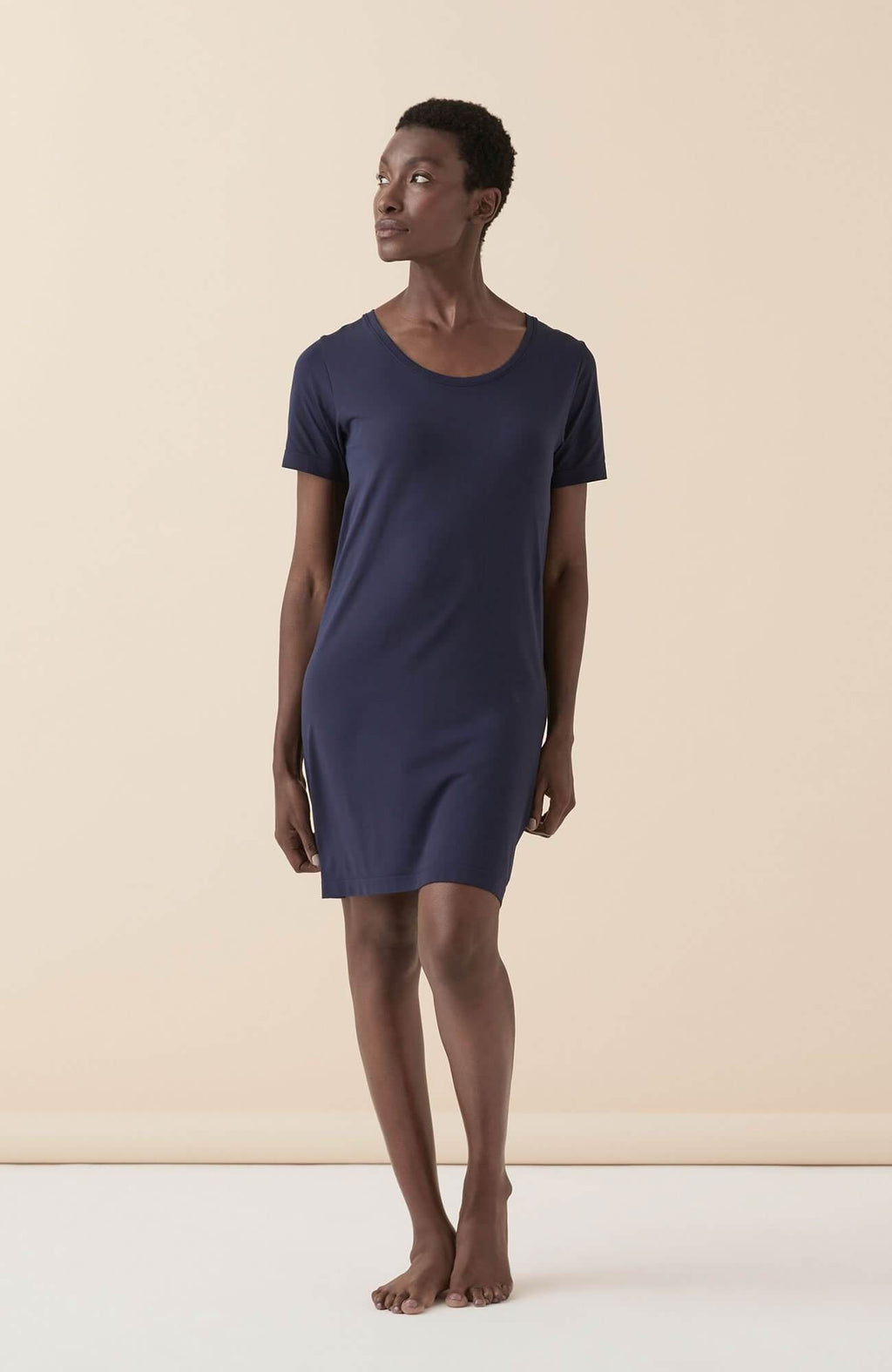 Navy Blue HydraDerma Short-Sleeve Night Dress
