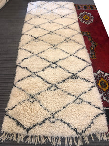 Gorgeous tribal Handmade Beni Ourain authentic Moroccan rug Teppich Tapis Runner 100% Wool Berber 105cm X 258cm