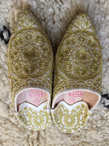 Handmade Slippers White & Gold Fabric Embroidery Leather Slippers Slippers, Wedding Slippers, Birthday Gift, Traditional, Slippers